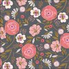 Colourful light pink flowers on grey - Ravishing rayon by Dashwood Studio - 5m