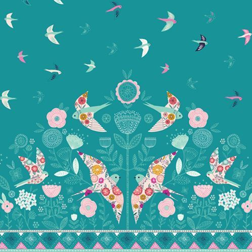 Pink birds on blue green - By Bethan Janine for Dashwood Studio - Cotton- 10m
