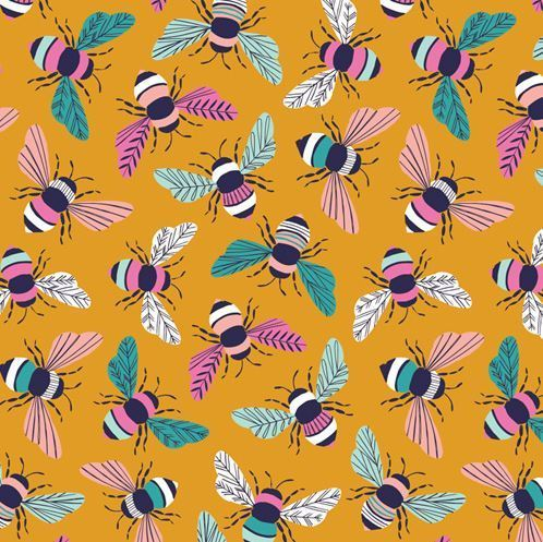 Bees on mustard - By Bethan Janine for Dashwood Studio - Cotton - 10m