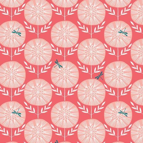 Dandelion and dragonfly on red - By Bethan Janine for Dashwood Studio - Cotton - 10m