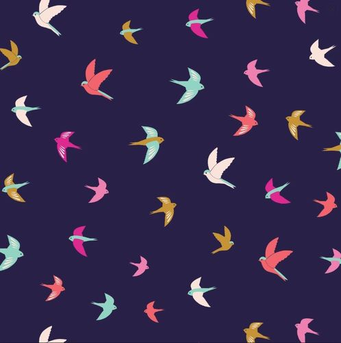 Flying birds on dark blue - By Bethan Janine for Dashwood Studio - Cotton - 10m