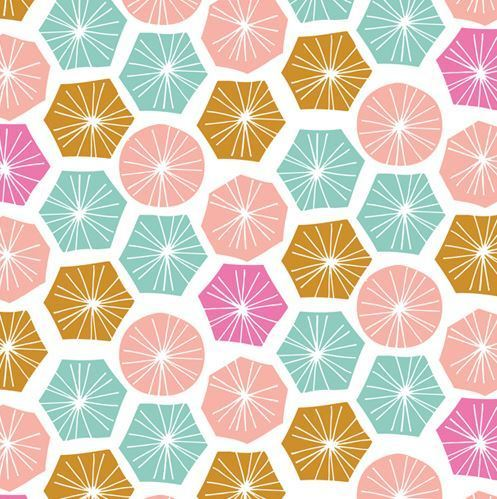 Geometric figures pink aqua & mustard on white - By Bethan Janine for Dashwood Studio - Cotton - 10m