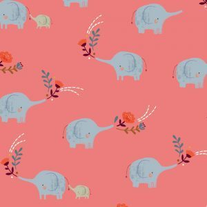 Elephants on pink by Loise @ peper & cloth for Dashwood Studio - Cotton - 10m