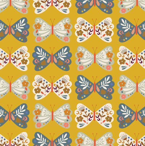 Butterflies on mustard by Loise @ peper & cloth for Dashwood Studio - Cotton - 10m