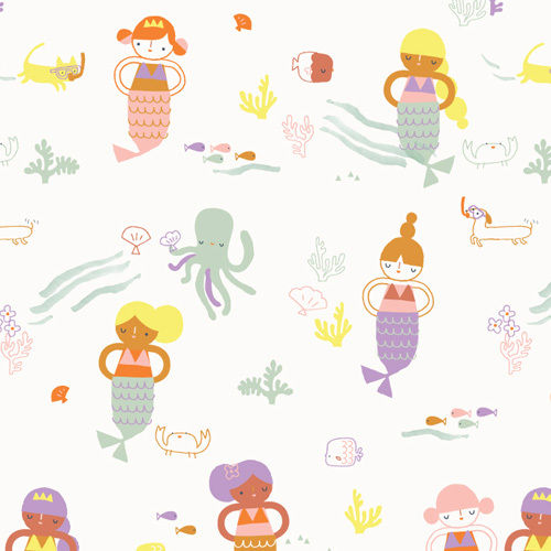 Little mermaids on white by Jilly P for Dashwood Studio - Cotton - 10m