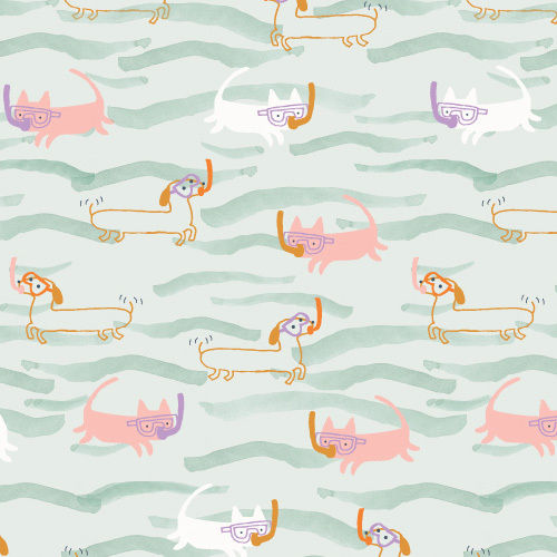 Berties and cat in the sea by Jilly P for Dashwood Studio - Cotton - 10m
