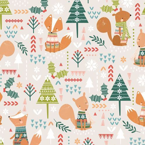 Wolf and squirrel christmas by Dashwood Studio - Cotton - 10m