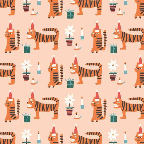 Festive tigers by Dashwood Studio - Cotton - 10m