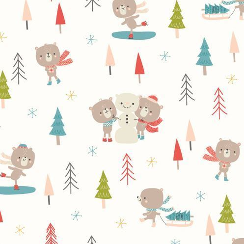 Cute bear enjoying christmas by Dashwood Studio - Cotton - 10m