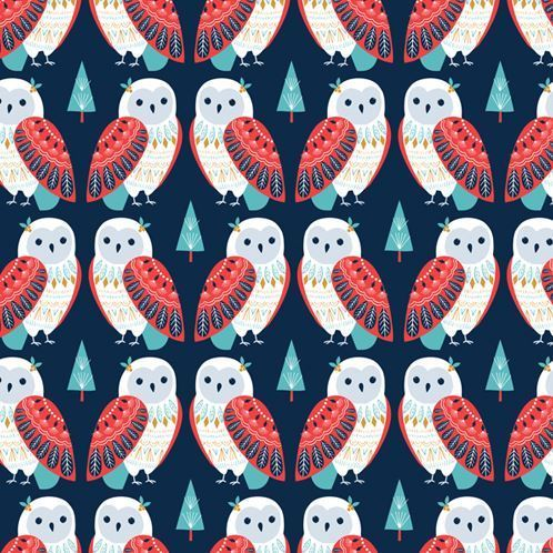Scandinavias owl by Bethan Janine for Dashwood Studio - Cotton - 10m