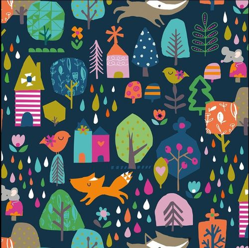 Walk in the Woods en bleu marine - de Stephanie Thannhauser pour Dashwood Studio - Coton - 10m
