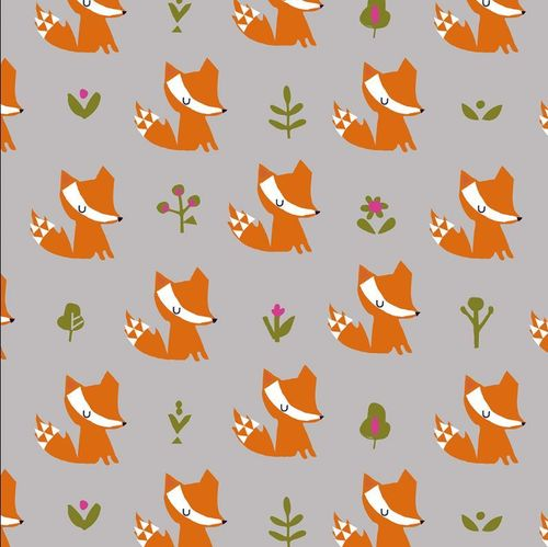 Petits renards orange sur fond gris de Stephanie Thannhauser pour Dashwood Studio - Coton - 10m