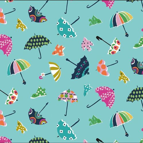Umbrellas on blue by Stephanie Thannhauser for Dashwood Studio - Cotton - 10m