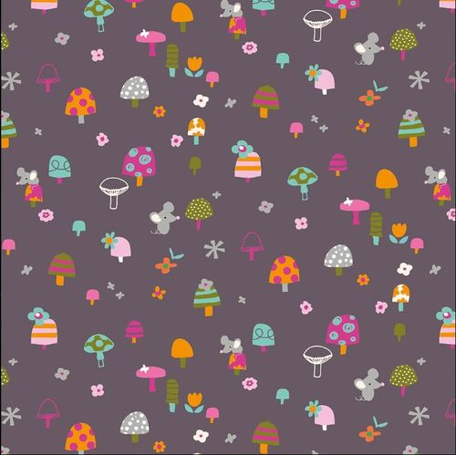 Little animals on aubergine by Stephanie Thannhauser for Dashwood Studio - Cotton - 10m