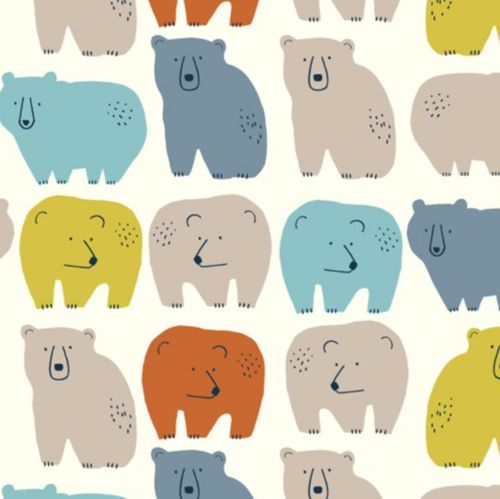Colourful big bears on white - Jilly P. for Dashwood Studio - Cotton - 10m