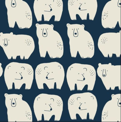 Big White bears on dark blue - Jilly P. for Dashwood Studio - Cotton - 10m