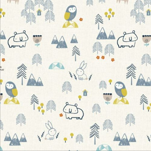Owls bears and rabbits in the snow - Jilly P. for Dashwood Studio - Cotton - 10m