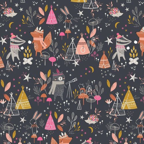 Big camping in the forest on navy by Sarah knight for Dashwood Studio - Cotton - 10m