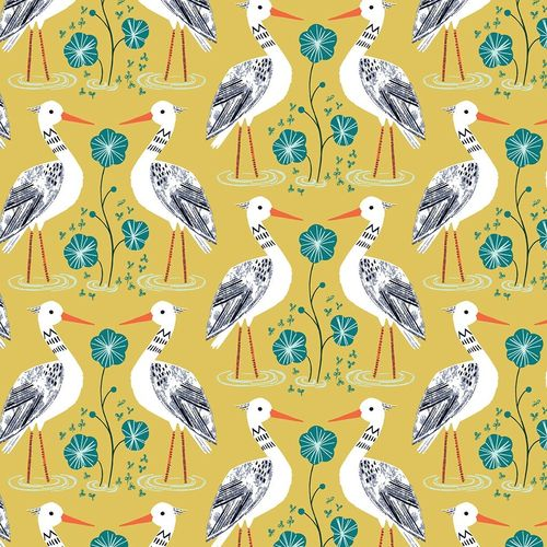 Stork in conversation - by Bethan Janine for Dashwood Studio - Cotton - 10m