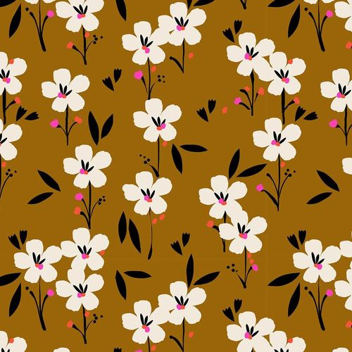 Spring,White flowers on brown par Dashwood Studio - Popeline de coton - 10m