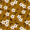Spring,White flowers on brown for Dashwood Studio- Cotton poplin - 10m