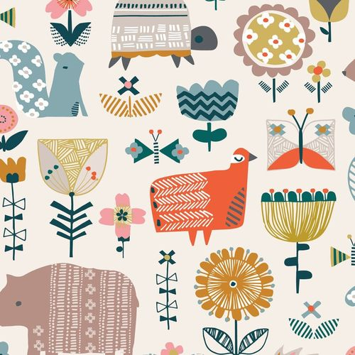 Animales in Cream - Hibernate de Stephanie Thannhauser para Dashwood Studio - 10m