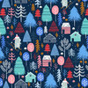 Snow villadge on dark blue by Sarah knight for Dashwood Studio - Cotton