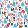 Snow villadge on white by Sarah knight for Dashwood Studio - Cotton